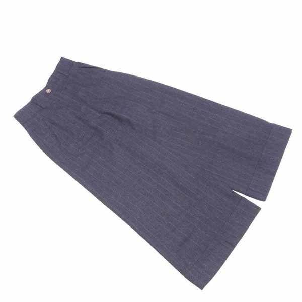 【値引きクーポン】 【中古】 ヴィヴィアン ウエストウッド Vivienne Westwood パンツ オーブボタン レディース ♯42サイズ ワイド グレー×ブルー ウールWOOL 90% D1787 .