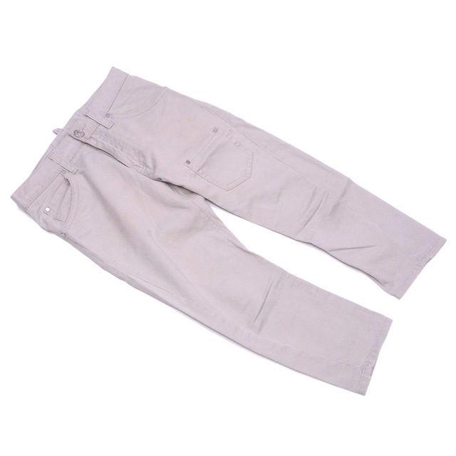 【中古】 ディースクエアード DSQUARED2 パンツ 裾ダメージ加工 レディース メンズ 可 ♯40サイズ クロップド ライトベージュ×シルバー コットンC/100% 人気 D1798 .