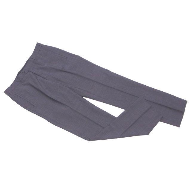 【中古】 プラダ PRADA パンツ スラックス メンズ ♯48サイズ センタープレス ダークグレー ウール羊毛100%(裏一部)VI/100% 美品 D1800