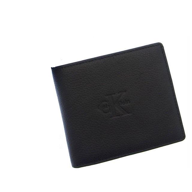 【中古】 (中古) カルバンクライン Calvin Klein 二つ折り財布 ロゴ ブラック レザー (中古) D455 .