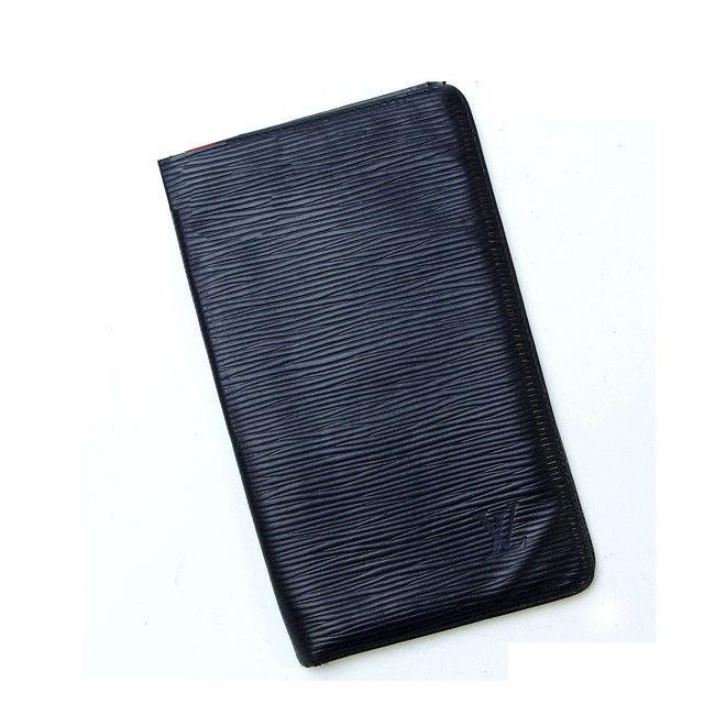 【中古】 ルイヴィトン Louis Vuitton 二つ折り札入れ メンズ ポルトシェキエカルトクレディ ブラック PVC×レザ- D500 .