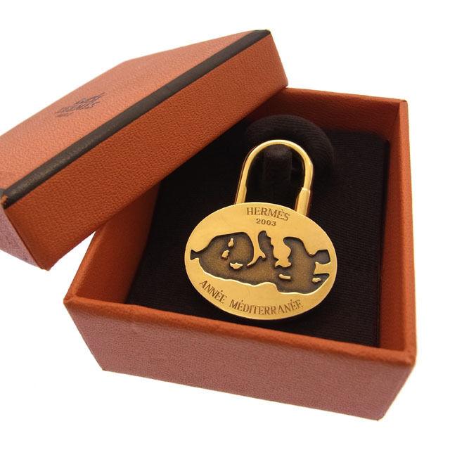 【中古】 エルメス HERMES キーホルダーカデナメンズ可2003年限定モデル 地中海 ゴールドメッキ D560 .