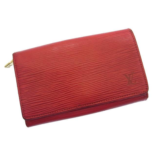 【中古】 ルイヴィトン Louis Vuitton L字ファスナー財布 二つ折り財布 メンズ可 ポルトモネ・ビエトレゾール エピ M63507 レッド レザー D606s .