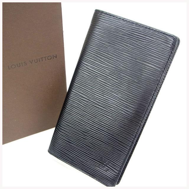 【中古】 ルイヴィトン Louis Vuitton 二つ折り長財布 メンズ可 ポルトカルトクレディ円 エピ ノワール(黒) エピレザー D948 .