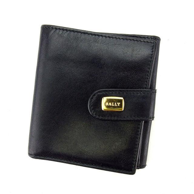 【中古】 バリー BALLY Wホック財布 二つ折り財布 ブラック×ゴールド レディース メンズ ユニセックス サイフ 小物 ブランド 人気 贈り物 財布 収納 在庫一掃 迅速発送 在庫処分 男性 女性 良品 1点物 E1005 .