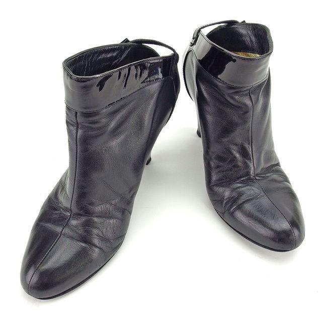 【中古】 シャネル CHANEL ブーツ #37 レディース ブラック エナメルレザー E1078 .