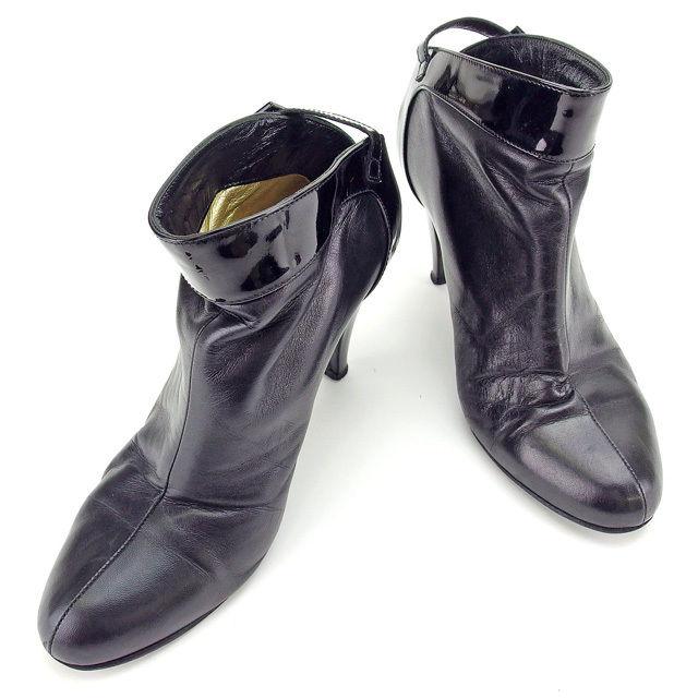 【中古】 シャネル CHANEL ブーツ #37 レディース ブラック エナメルレザー E1079 .