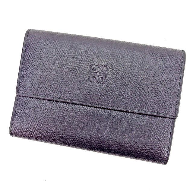 【中古】 ロエベ LOEWE 三つ折り財布 財布 メンズ可 ブラック レザー 人気 良品 E1182 .