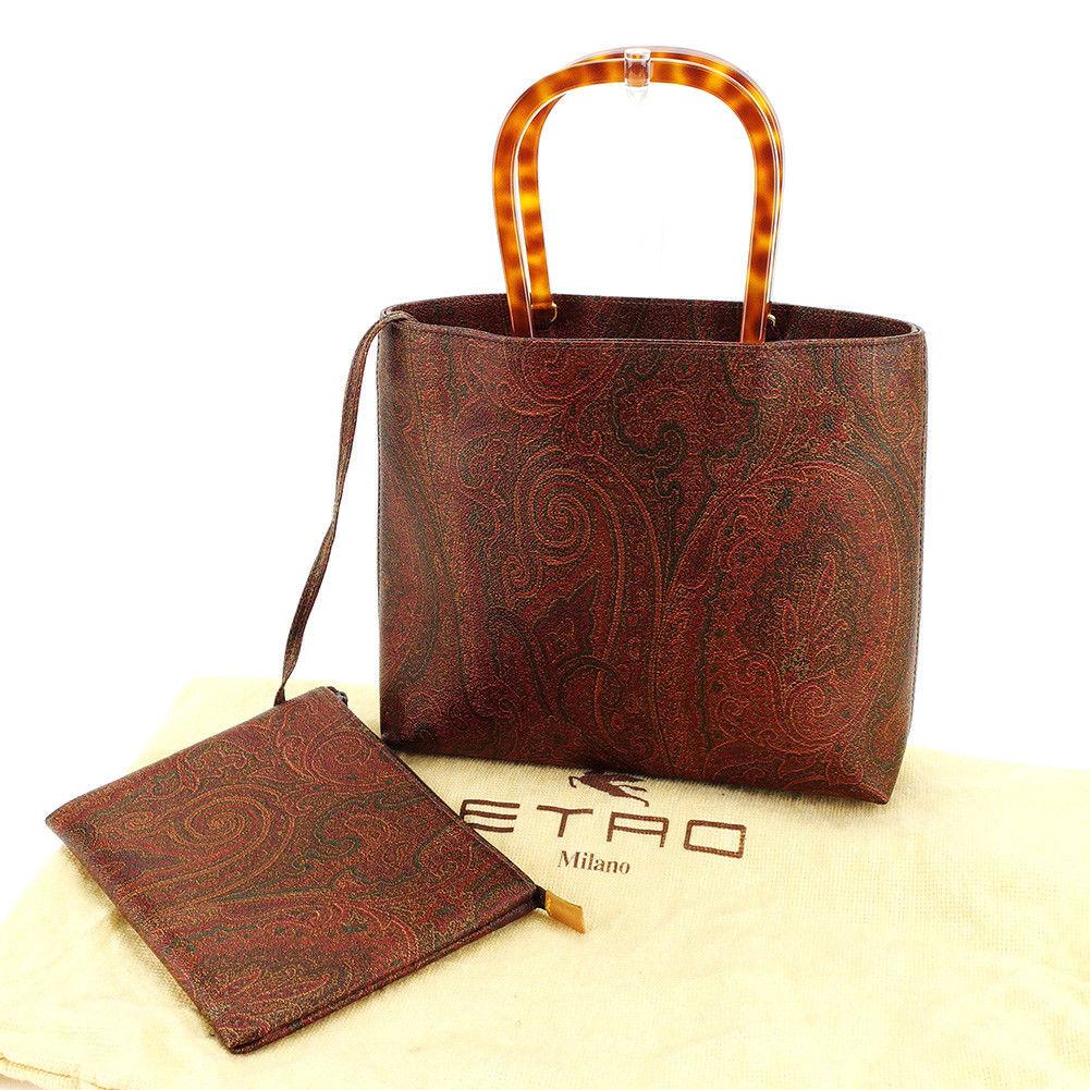 【中古】 エトロ ETRO トートバッグ トート ハンドバッグ レディース ペイズリー ブラウン系 PVC×プラスチック 美品 E1184 .