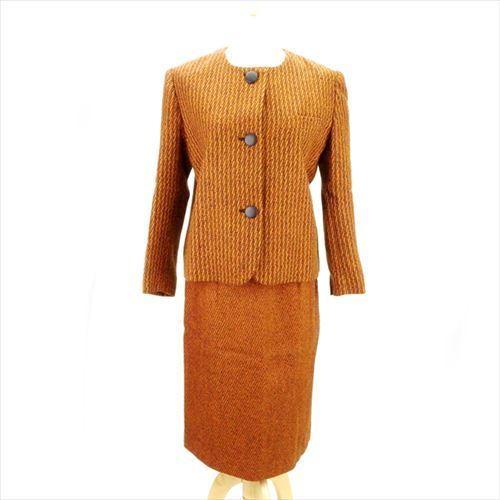 【中古】 クリスチャン ディオール Christian Dior スーツ ノーカラー ヒザ丈 レディース ♯9サイズ シングルジャケット×タイトスカート ツィード オレンジ系 人気 E1193