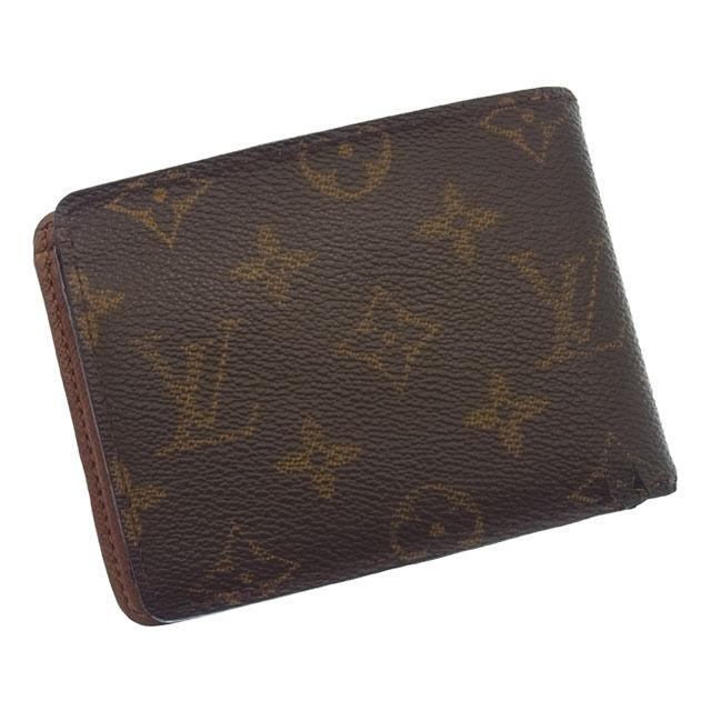 【中古】 ルイヴィトン Louis Vuitton 二つ折り札入れ メンズ可ポルトフォイユミュルティプル モノグラム ブラウン PVC×レザー E395 .