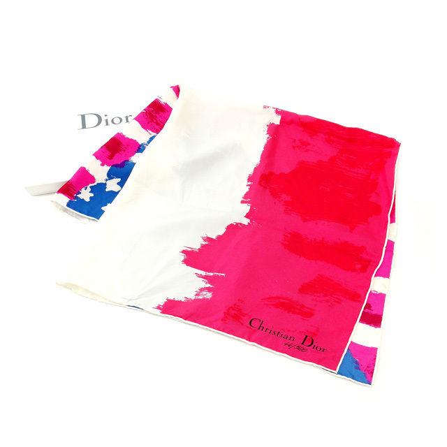 【中古】 クリスチャン・ディオール Christian Dior スカーフ 500枚限定 ニューヨーク店オープン記念 ブルー×ピンク×ホワイト 100%シルク レア E742