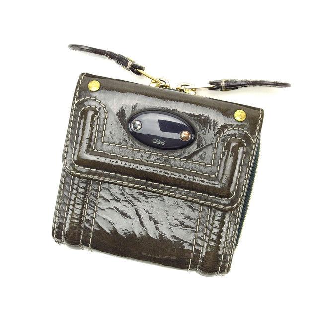 【中古】 クロエ Chloe 三つ折り財布 ラウンドファスナー メンズ可 グレー エナメルレザー E758 .