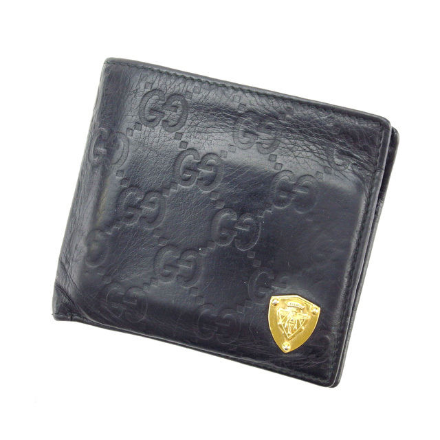 【中古】 グッチ GUCCI 二つ折り財布 メンズ可 グッチシマ ブラック レザー E850 .