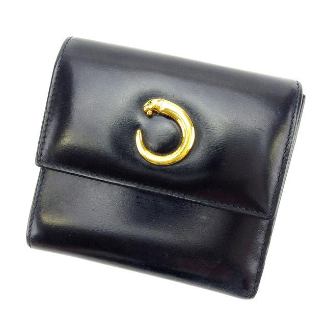 【中古】 カルティエ Cartier 三つ折り財布 メンズ可 パンテール ブラック×ゴールド レザー E866