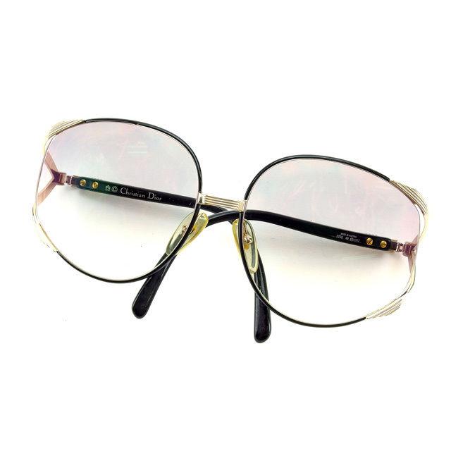 【中古】 クリスチャン・ディオール Christian Dior サングラス 度入り メンズ可 ブラック×ゴールド E903 .