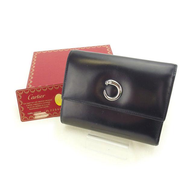 【中古】 カルティエ Cartier 三つ折り財布 レディース パンテール ブラック レザー E964 .