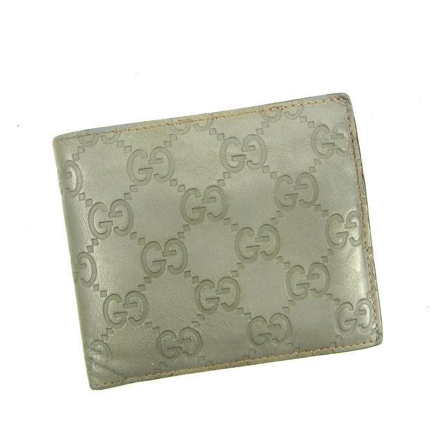 【中古】 グッチ GUCCI 二つ折り財布 グッチシマ グレー レザー F1056 .