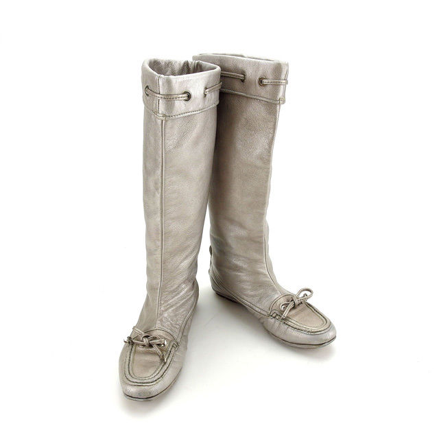 01900e3d5856 Christian Dior Christian Dior boots shoes shoes Lady s ♯ 37 long ribbon  silver leather (correspondence) popularity sale F1114.