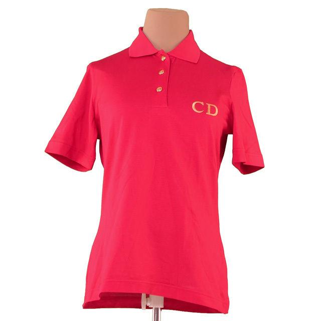 【値引きクーポン】 【中古】 ディオール Dior ポロシャツ 半袖 レディース ♯Sサイズ レッド×ゴールド コットン綿100% F1251 .