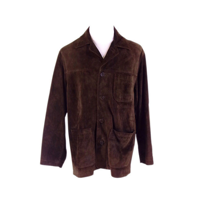 【中古】 コーチ COACH コート ジャケット ポケット付き メンズ サイズS シングル ロゴボタン ブラウン (人気 激安) F1278