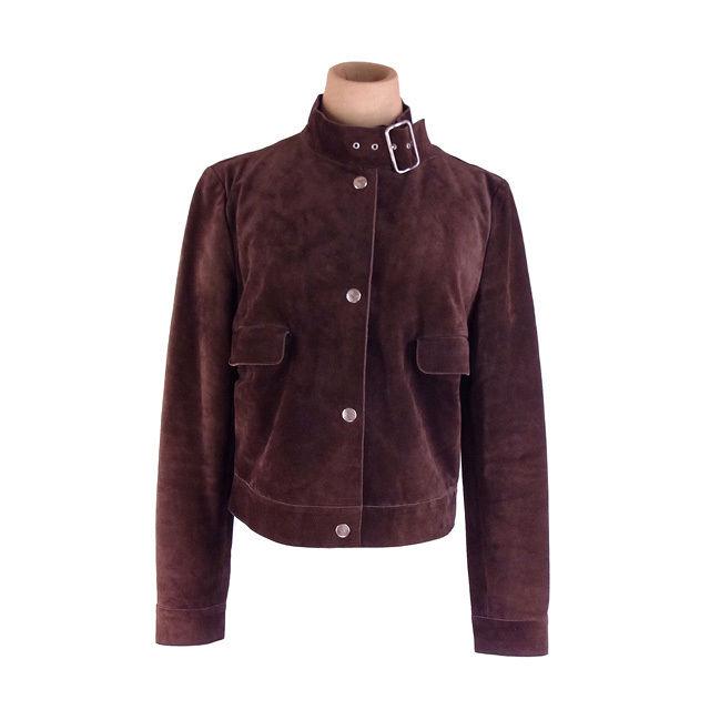【中古】 ミュウミュウ miumiu ジャケット ポケット付き レディース サイズ42 スタンドカラー ブラウン×シルバー 人気 良品 F1285