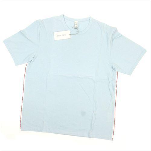 【中古】 ミュウミュウ miumiu Tシャツ 半袖 カットソー メンズ ♯Sサイズ サイドライン入り ライトブルー系 人気 F1317 .