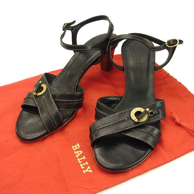 【中古】 バリー BALLY サンダル ミュール 靴 レディース ♯[36EU 5・1 2US] クロスデザイン ロゴ ブラック×ゴールド レザー F568 .