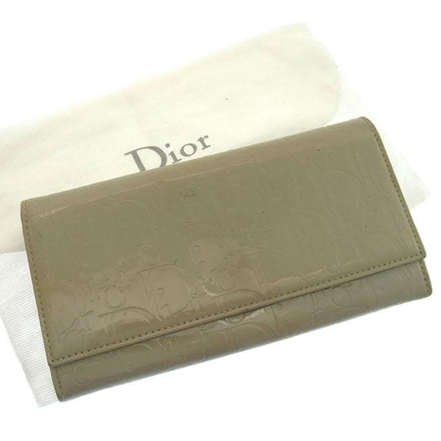 【中古】 クリスチャン・ディオール Christian Dior 長財布 ファスナー 二つ折り メンズ可 アルティメット トロッター グレー エナメルレザー F629 .