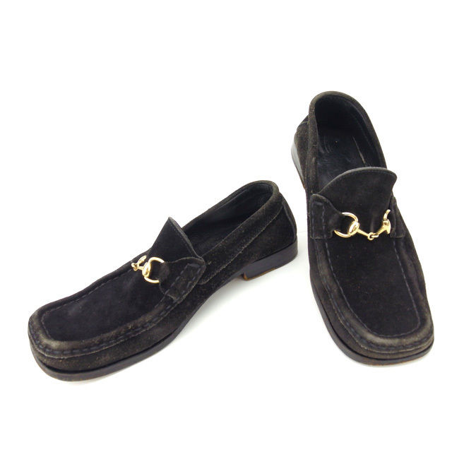 Gucci by GUCCI loafers   35 1   2 Womens-bit black x Gold suede with cheap  popular F666 f542a67c4