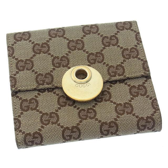 【中古】 グッチ GUCCI Wホック財布 二つ折り メンズ可 エクリプス GGキャンバス 120932 ベージュ×ブラウン×ゴールド キャンバス×レザー F923 .