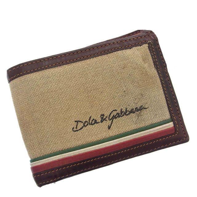 【中古】 ドルチェ&ガッバーナ DOLCE&GABBANA 二つ折り財布メンズ可 ロゴ ブラウン×ベージュ キャンバス×レザー G050 .