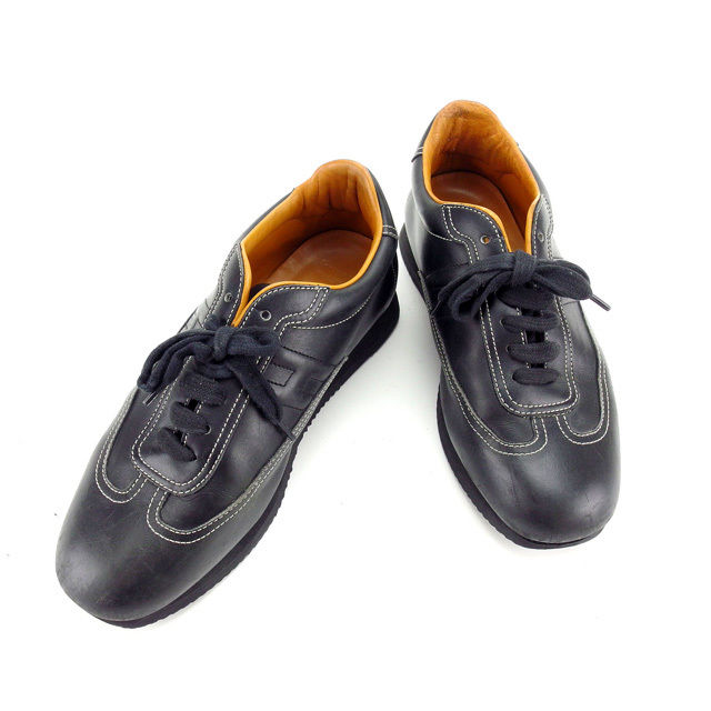 【中古】 エルメス HERMES スニーカー シューズ 靴 レディース ♯38ハーフ Hマーク入り クイック ブラック レザー G1004 .