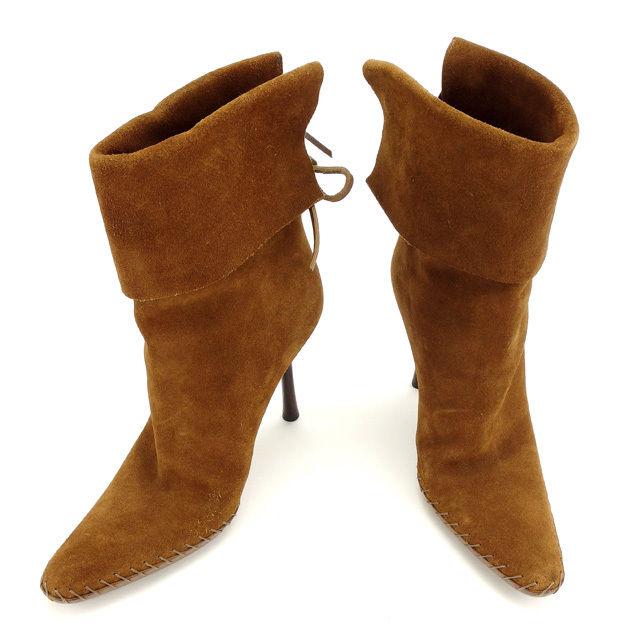 【中古】 グッチ GUCCI ブーツ シューズ 靴 レディース ♯36ハーフC ミドル ブラウン系 スエード G1066 .
