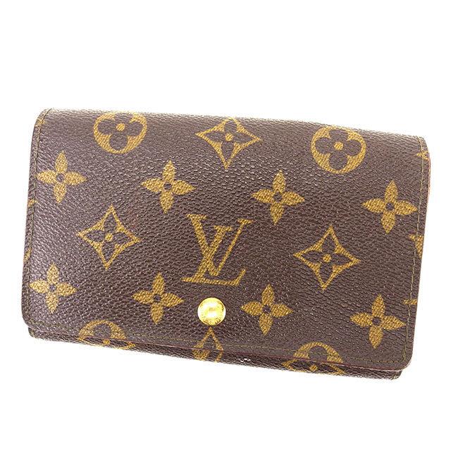 【中古】 ルイ ヴィトン Louis Vuitton L字ファスナー財布 二つ折り財布 メンズ可 ポルトモネビエトレゾール モノグラム ブラウン モノグラムキャンバス G1086 .