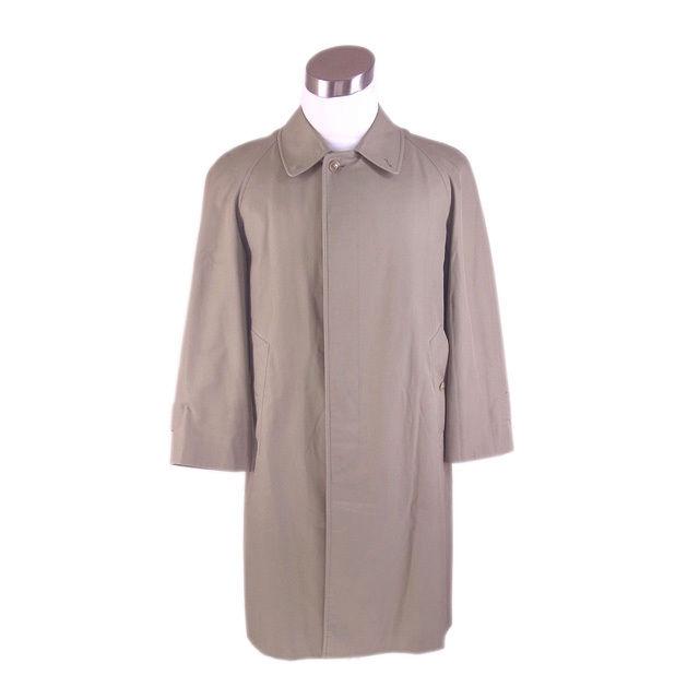 【中古】 バーバリー BURBERRY コート ロング丈 シングル メンズ 裏地ノバチェック ステンカラー カーキ 激安 人気 G1185