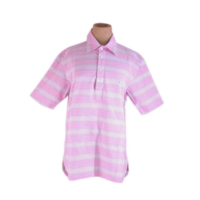 【中古】 バーバリー ブラックレーベル BURBERRY BLACK LABEL シャツ 半袖 ポロシャツ メンズ ♯2サイズ ホース刺繍入り ボーダー ピンク系 良品 人気 G1189 .