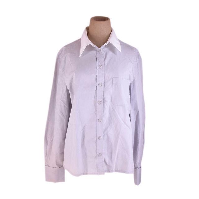 【中古】 シャネル CHANEL シャツ 長袖 レディース 胸ポケット付き ロゴボタン シルバー×ホワイト 激安 人気 G1192
