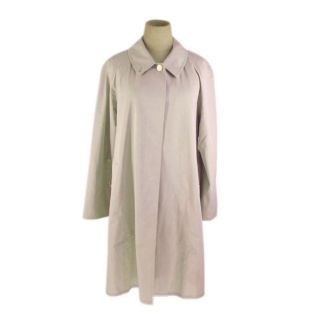 【中古】 バーバリー BURBERRY コート ロング丈 シングル レディース ホースボタン付き ステンカラー ベージュ×ゴールド 良品 人気 G1195