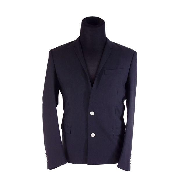 【中古】 クリスチャン ディオール Christian Dior ジャケット 2つボタン メンズ ♯50サイズ ロゴボタン テーラード ブラック 良品 人気 G1197 .