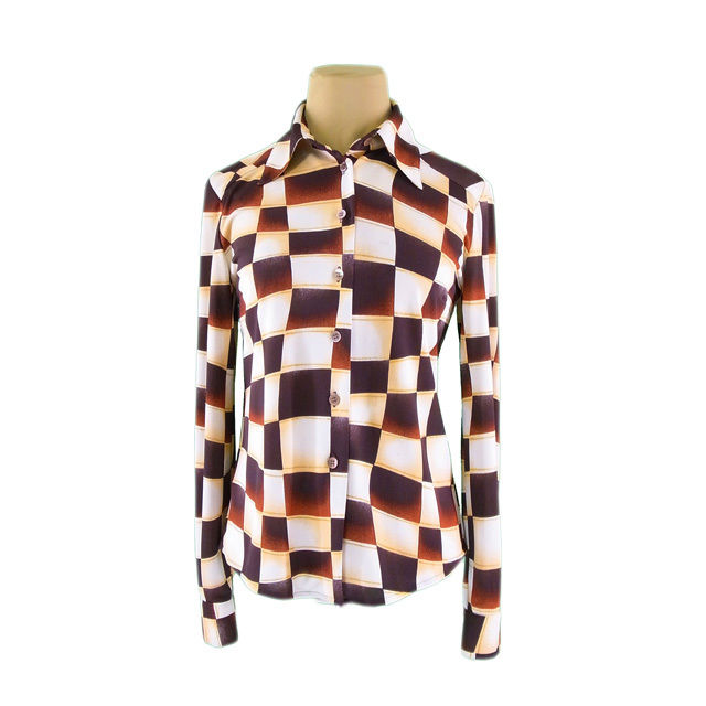 【中古】 ヴァレンティノ VALENTINO シャツ 長袖 レディース ♯9サイズ チェック ベージュ×ブラウン 良品 人気 G1221 .