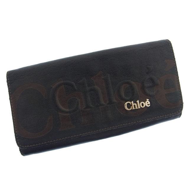 【中古】 クロエ Chloe 二つ折り長財布 メンズ可 ロゴ ブラック×ブラウン レザー G179 .