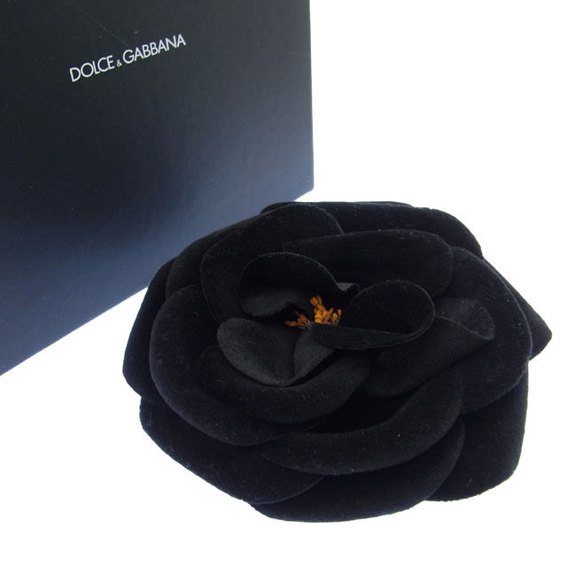 【中古】 ドルチェ&ガッバーナ DOLCE&GABBANA ブローチ フラワー レディース コサージュ ブラック G183 .