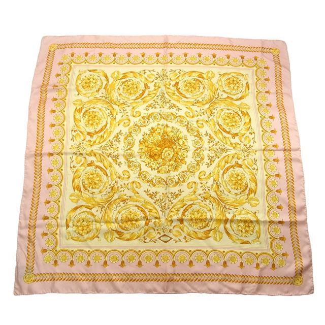 【中古】 ヴェルサーチ VERSACE スカーフ レディース フラワープリント アイボリー×ピンク系 Silk 100% G269