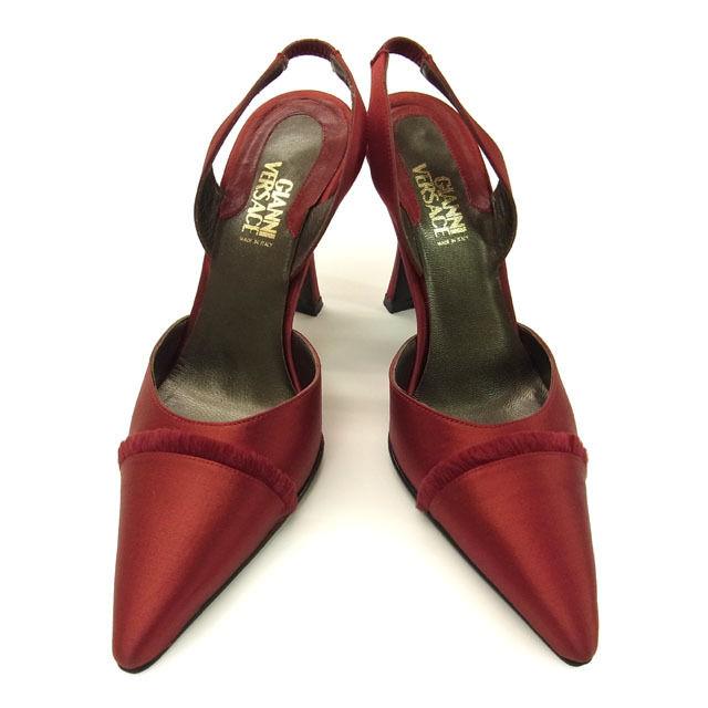 【中古】 ヴェルサーチ VERSACE パンプス ミュール 靴 レディース ♯35・フリンジ付き レッド サテン×レザー G288 .