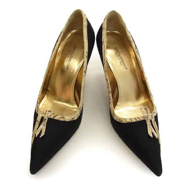 【中古】 ドルチェ&ガッバーナ DOLCE&GABBANA パンプス 靴 レディース ♯36・パイソンパイピング ブラック×ベージュ系 G289