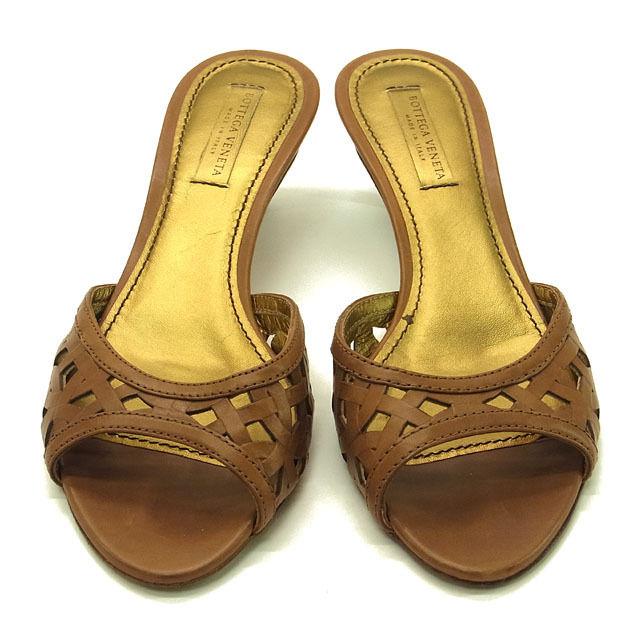 【中古】 ボッテガ ヴェネタ BOTTEGA VENETA ミュール サンダル シューズ 靴 レディース ♯37 透かし編み ブラウン×ゴールド レザー G601 .
