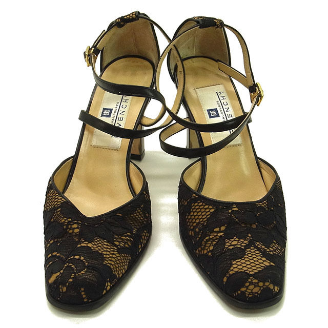 Givenchy in 2000s GIVENCHY pumps shoes shoes Womens # 36 ankle strap lace  black x beige x Gold race x leather with cheap popular G620