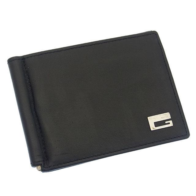 【中古】 グッチ GUCCI カードケース パスケース メンズ Gマーク ブラック×シルバー レザー G655 .