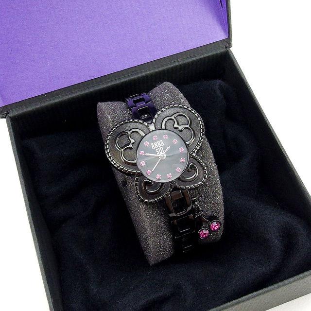 【中古】 アナスイ ANNA SUI 腕時計 レディース ブラック×ピンク G656